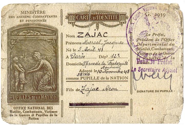 Carte d'identité de Marcel Zajac, adopté comme pupille de la Nation le 10 novembre 1948. Archives familiales