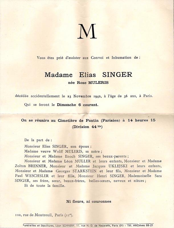 Faire-part de décès d'Hélène Zyngier, épouse d'Elyasz Zyngier (Elias Singer), inhumée sous le nom de «Rose Muleris», décédée le 23 novembre 1942. Archives familiales