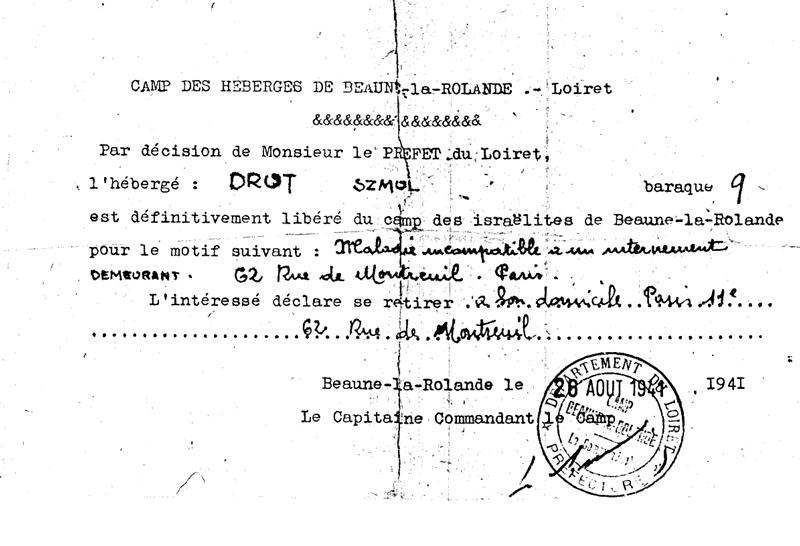 Certificat de libération de Szmul Drut (28 août 1941, camp de Beaune-la-Rolande). Archives familiales