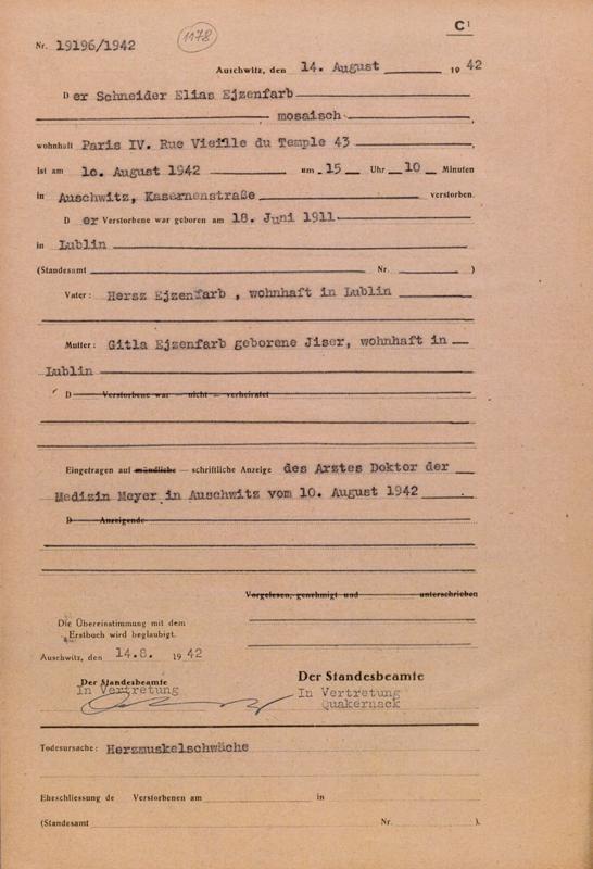 Formulaire rempli au camp d'Auschwitz. Acte de décès d'Elias Ejzenfarb. Il serait décédé d'insuffisance cardiaque. Archives du Musée d'Auschwitz