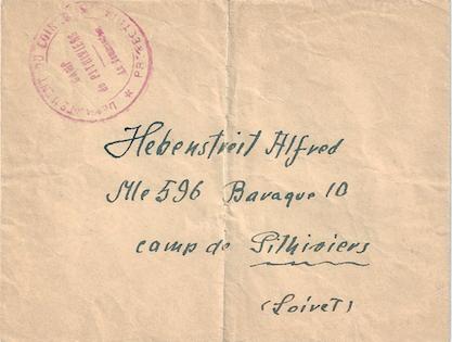 Enveloppe destinée à envoyer du courrier à l'interné Alfred Hebenstreit, avec tampon du camp de Pithiviers (recto). Archives familiales