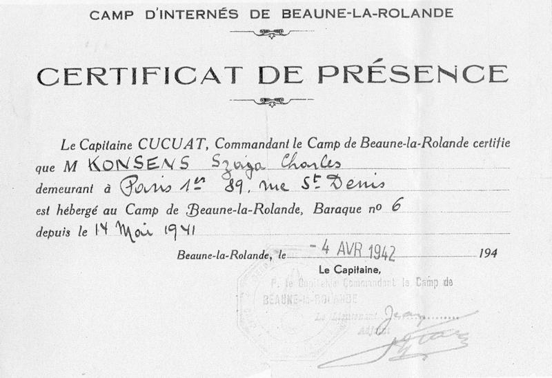 Certificat de présence au camp de Beaune-la-Rolande établi au nom de Szaja Konsens (4 avril 1942). Archives familiales