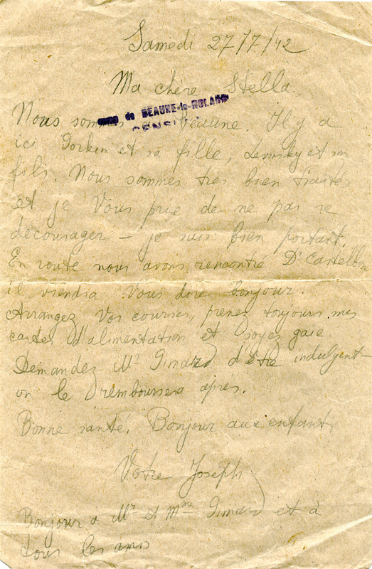 Lettre écrite par Joseph Kremenstein au camp de Beaune-la-Rolande le 27 juin 1942 (non le 27 juillet comme inscrit). Archives familiales