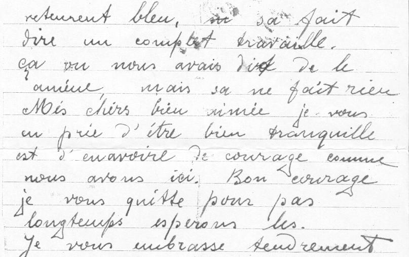 Dernière lettre écrite du camp de Pithiviers par Paul Waitman, le 24 juin 1942, la veille de sa déportation (verso). Archives familiales