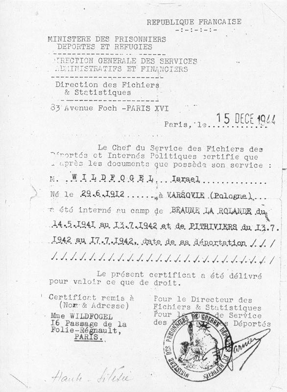 Certificat d'internement et de déportation établi au nom d'Israël Wildfogel le 15 décembre 1944 et remis à son épouse Ryfka. Archives familiales