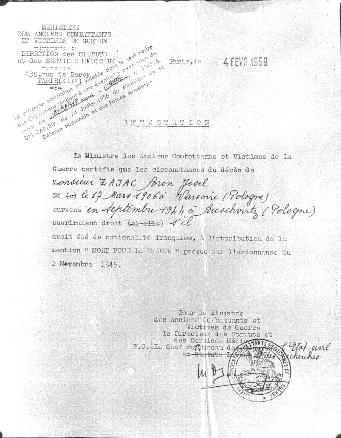 Attestation certifiant que, s'il avait été de nationalité française, Aron Zajac aurait pu prétendre à l'attribution de la mention «Mort pour la France» (4 février 1959). Archives familiales