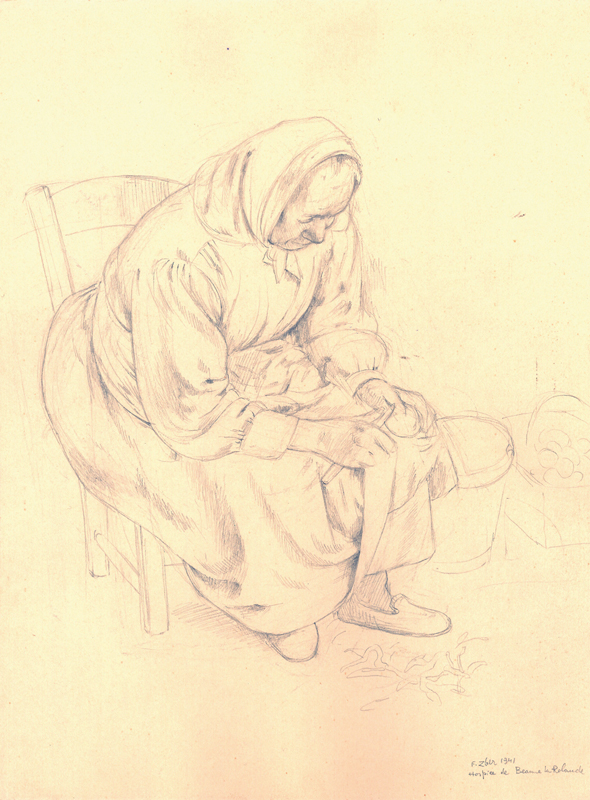 Sans titre, F.Zber, 1941. Inscription : « Hospice de Beaune la Rolande ». Dessin au crayon graphite sur papier. 33,1 x 25 cm. Collection Cercil n°INV 210-14