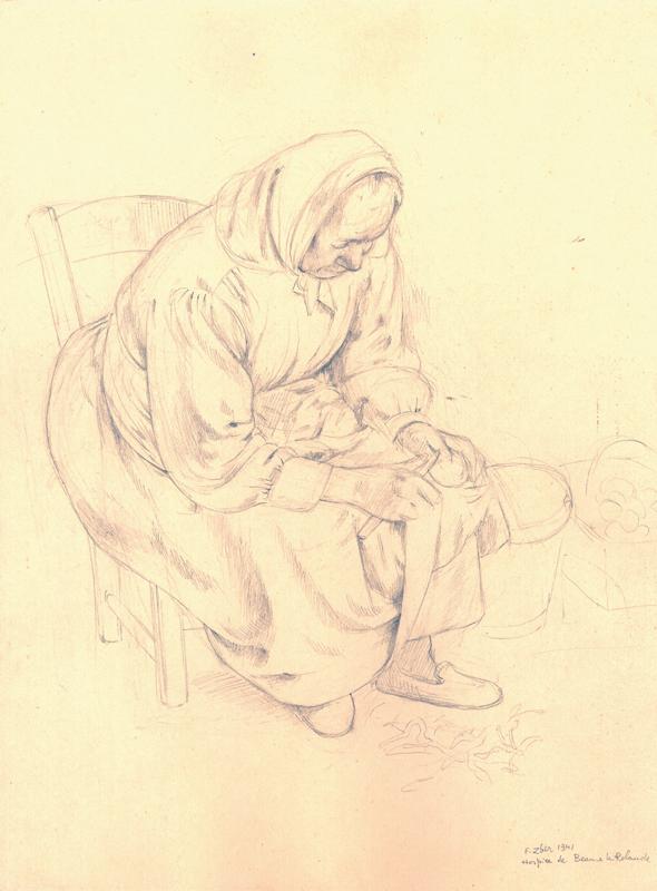 Sans titre, F.Zber, 1941. Inscription: «Hospice de Beaune la Rolande». Dessin au crayon graphite sur papier. 33,1 x 25 cm. Collection Cercil n°INV 210-14