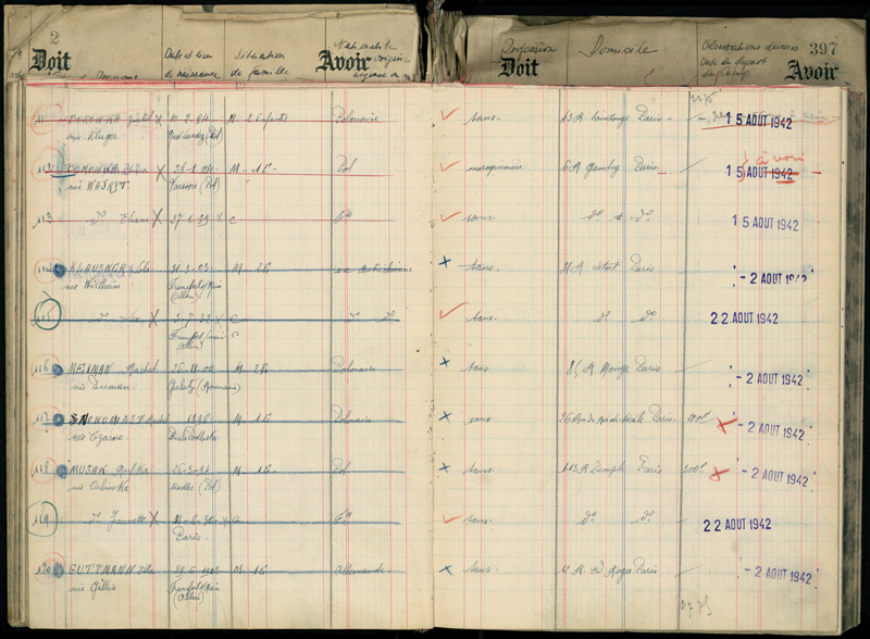 Extrait de registre du camp de Pithiviers où Sonia (Sura) et Eliane Borowka sont internées à partir du 21 juillet 1942. Archives départementales du Loiret – 20 M 795