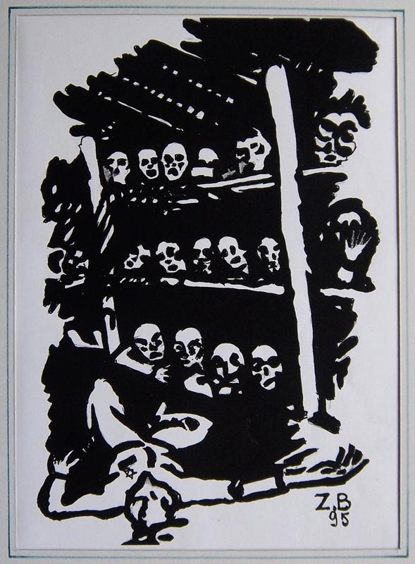 Sans titre, Zelman Brajer, 1995. Reproduction d'œuvre graphique sur papier. 29,7 x 21 cm. Collection Cercil n°INV 102