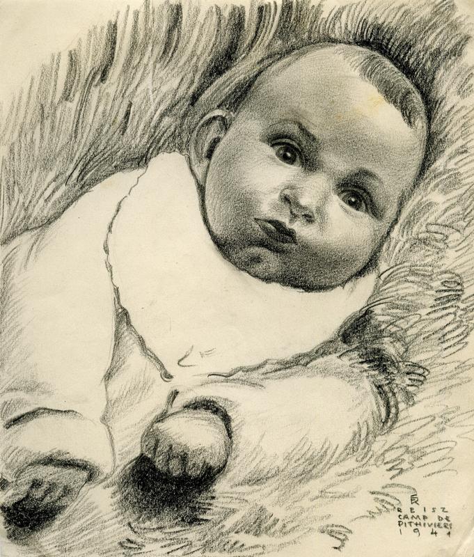 Portrait de Micheline, dessiné à partir de la photographie du bébé par Franz Reisz, artiste-peintre au camp de Pithiviers qui survivra à la déportation (mai-décembre 1941). Archives familiales