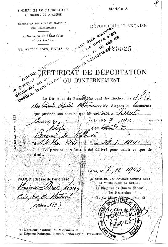 Certificat d'internement établi au nom de Szmul (Simon) Drut (7 décembre 1946). Archives familiales