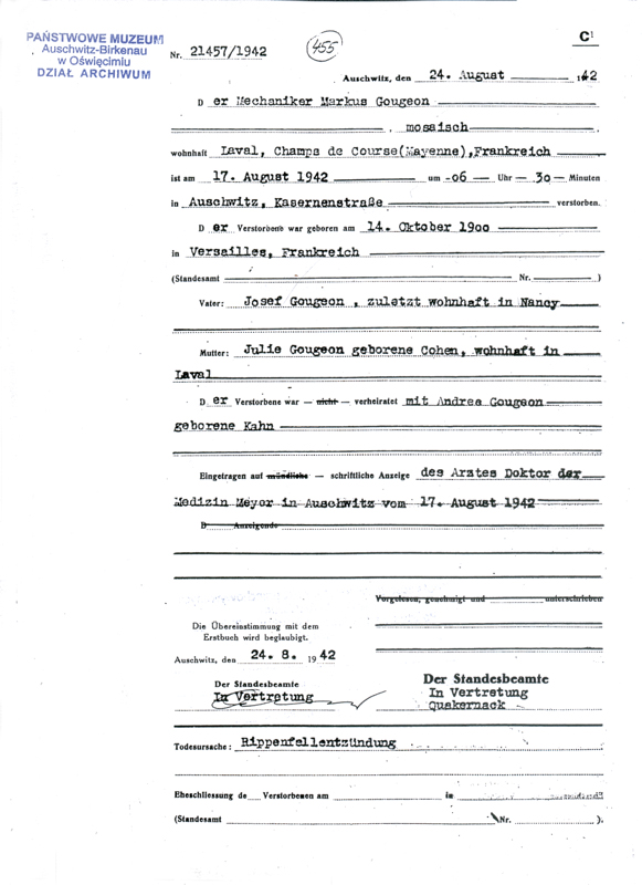 Formulaire rempli au camp d'Auschwitz. Acte de décès de Marc Gougeon. Il serait décédé des suites d'une pleurésie. Archives du Musée d'Auschwitz