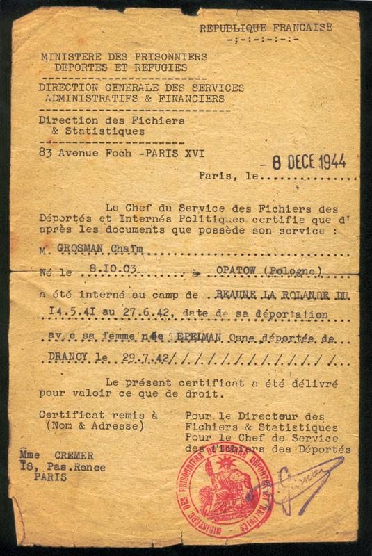 Certificat d'internement et de déportation de Chaïm et Osna-Anna Grosman (déportée de Drancy par le convoi 12) établi le 8 décembre 1944. Archives familiales