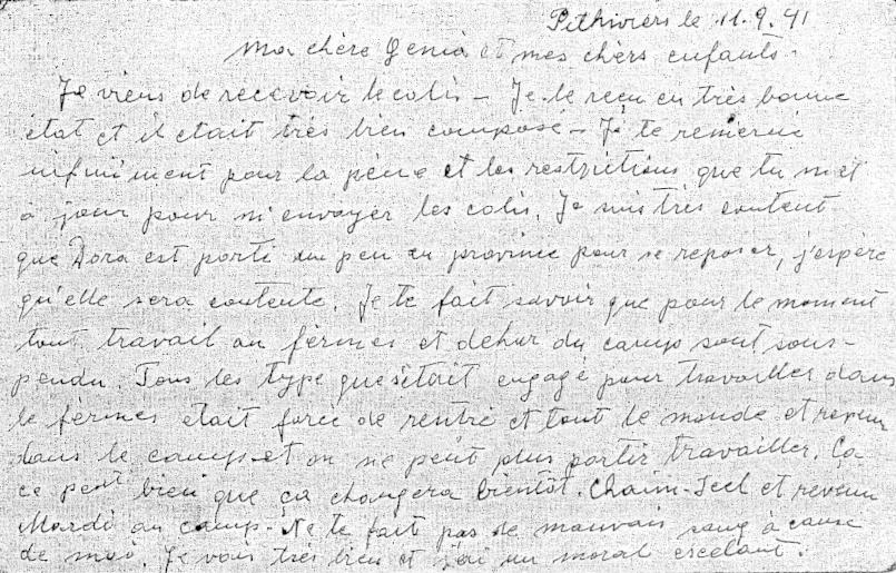 Carte clandestine d'Alfred Hebenstreit écrite au camp de Pithiviers le 11 septembre 1941 (recto). Archives familiales