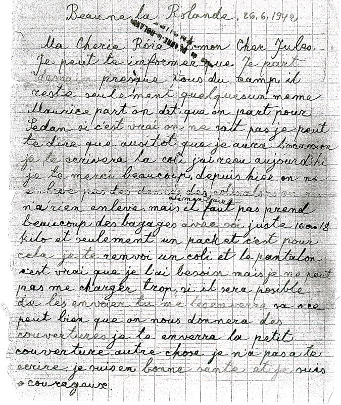 Lettre écrite au camp de Beaune-la-Rolande par David Koslowski, beau-frère de Moszek (Maurice) Jakobowicz, deux jours avant leur déportation (26 juin 1942) (recto). Archives familiales