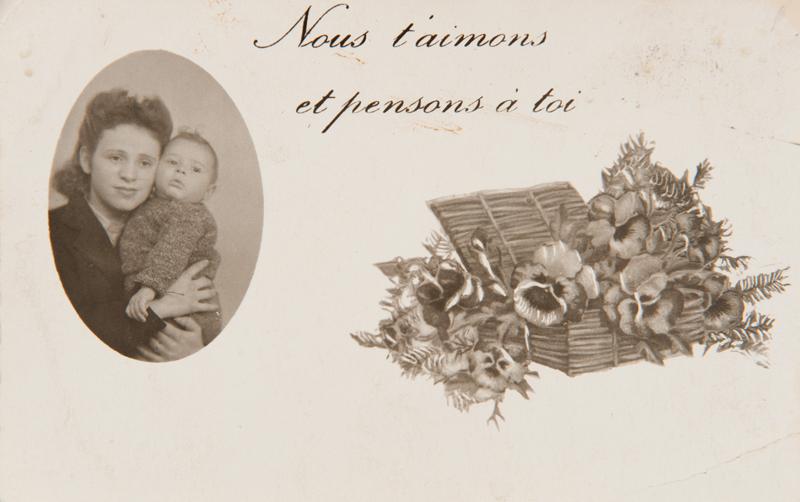 Esther Kantorowicz et son bébé Serge, né en avril 1942 (sd). Mémorial de la Shoah/Coll. Serge Kantorowicz
