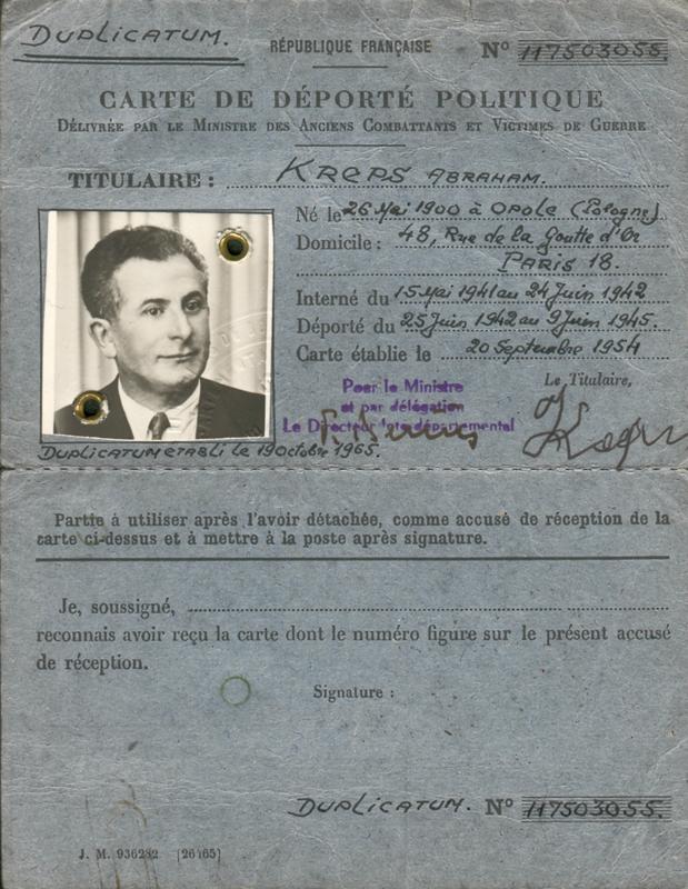 Carte de déporté politique d'Abraham Kreps (verso) (20 septembre 1954) – Duplicata 19 octobre 1965. Archives familiales