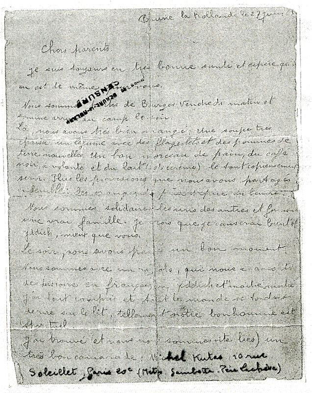 Dernière lettre écrite par Joseph Lander depuis le camp de Beaune-la-Rolande le 27 juin 1942, veille de sa déportation (recto). Archives familiales