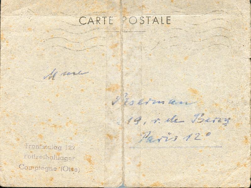 Carte datée du 10 juin 1942, envoyée par les autorités allemandes du camp de Compiègne à Chana Paserman (recto). Archives familiales