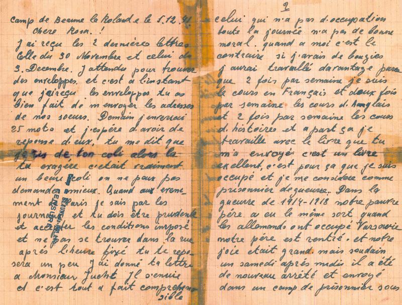 Lettre écrite par Michel Piernikarz à sa sœur Rosa du camp de Beaune-la-Rolande (5 décembre 1941) (recto). Archives familiales