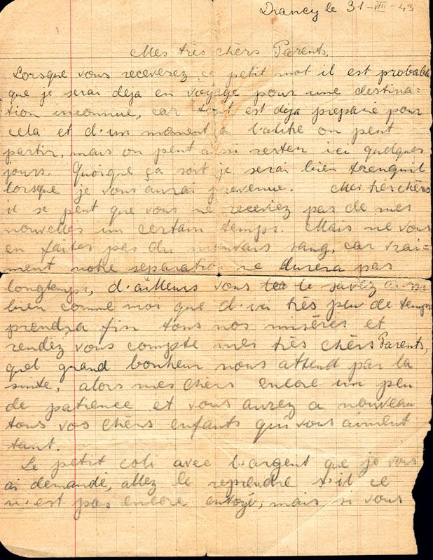 Lettre écrite du camp de Drancy par Norbert Lemberger à ses parents le 31 août 1943, l'avant-veille de son départ en déportation (recto). Archives familiales