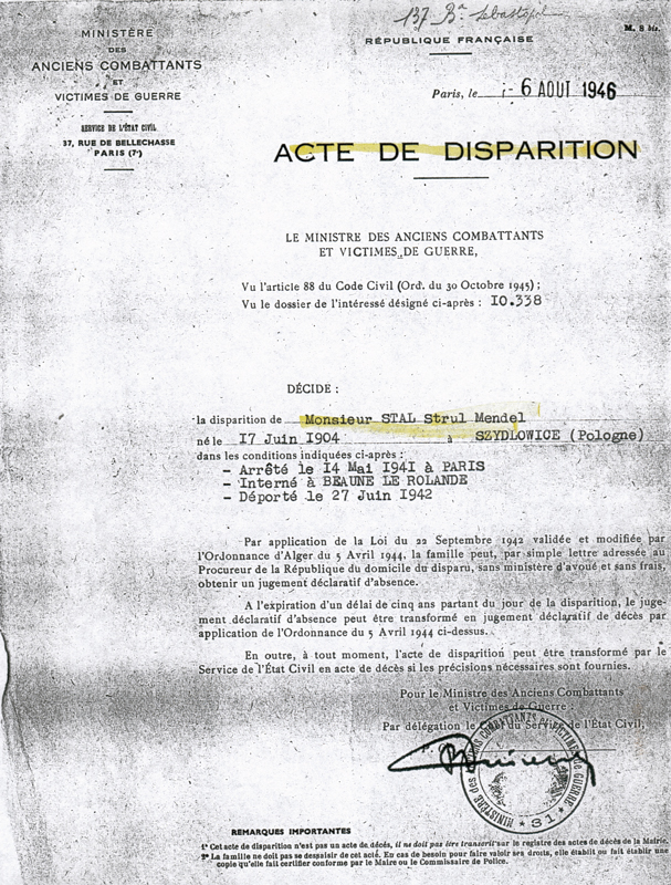 Acte de disparition établi au nom de Strul Mendel Stal (6 août 1946). Archives familiales