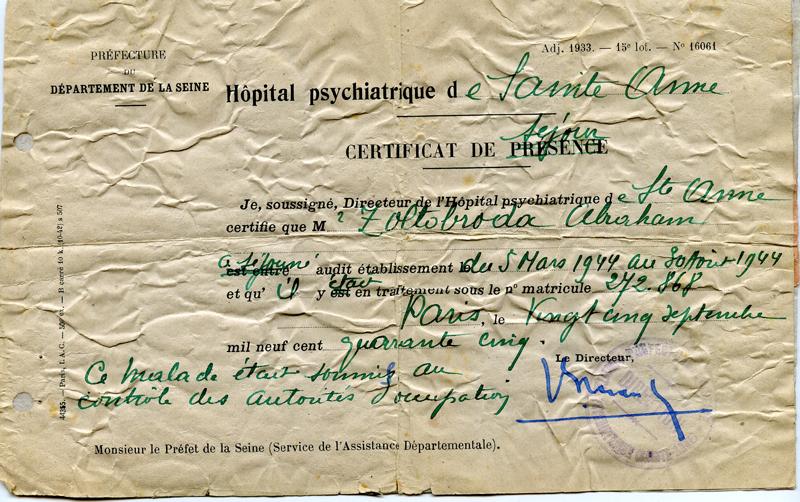 Certificat de séjour d'Abraham Zoltobroda à l'hôpital Sainte-Anne à Paris (25 septembre 1945). Archives familiales
