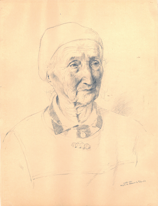 Sans titre, F.Zber, 1942. Inscription : « Hospice de Beaune-la Rolande ». Dessin au crayon graphite sur papier. 32,1 x 24,4 cm. Collection Cercil n°INV 210-05