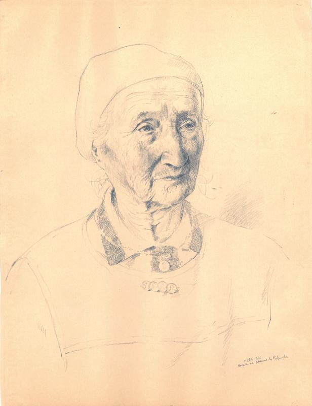 Sans titre, F.Zber, 1942. Inscription: «Hospice de Beaune-la Rolande». Dessin au crayon graphite sur papier. 32,1 x 24,4 cm. Collection Cercil n°INV 210-05