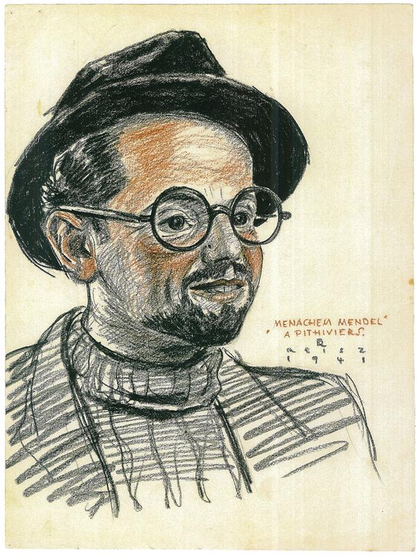 Portrait de Zwilen Bezpalczik sous les traits du personnage de Menachem Mendel, dessiné par Franz Reisz. Archives familiales