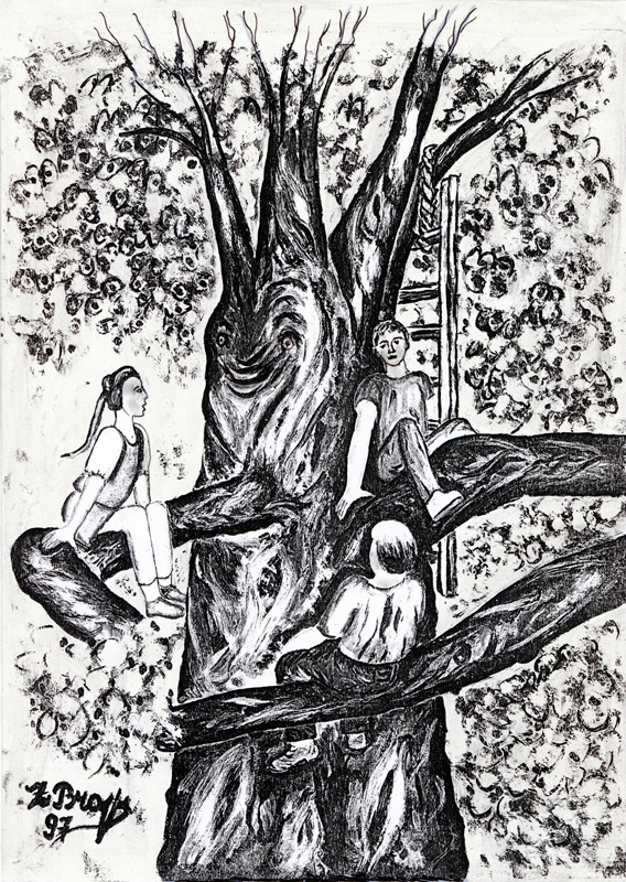 Sans titre, Zelman Brajer, 1997. Reproduction de peinture sur papier.  29,7 x 21 cm. Collection Cercil n°INV 94