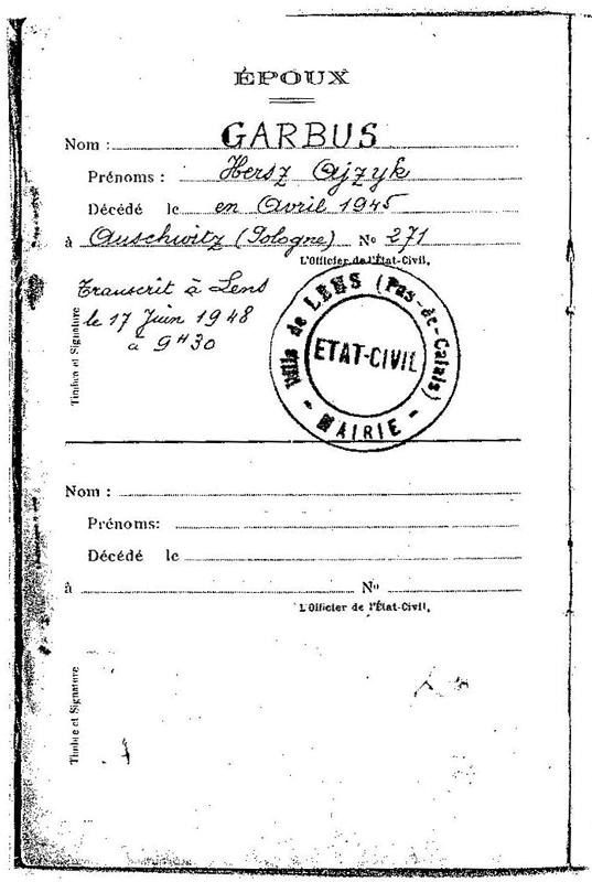 Extrait du livret de famille de Hersz Garbus (1948). Archives familiales