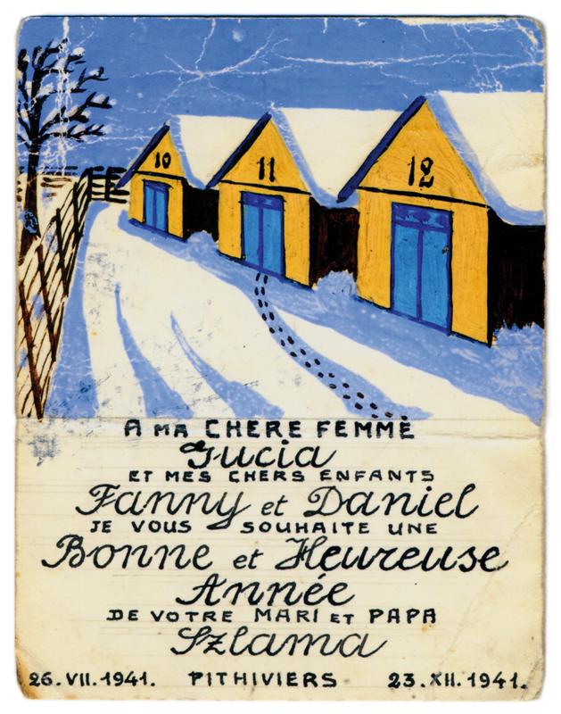 Carte de vœux de Szloma (Szlama) Gorfinkel, destinée à sa femme et ses enfants (confectionnée au camp de Pithiviers, 23 décembre 1941). Archives familiales