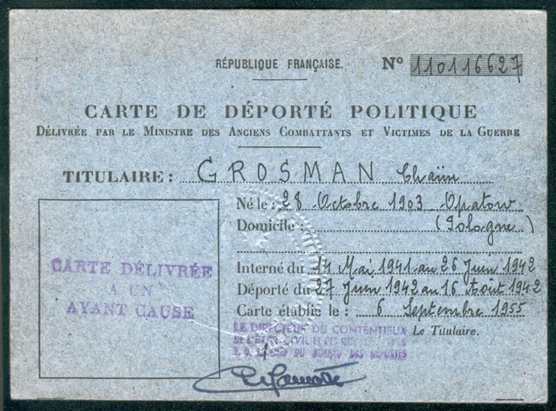 Carte de déporté politique établie au nom de Chaïm Grosman (6 septembre 1955) (recto). Archives familiales