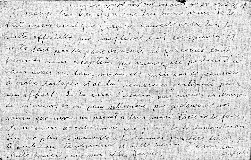 Carte clandestine d'Alfred Hebenstreit écrite au camp de Pithiviers le 11 septembre 1941 (verso). Archives familiales
