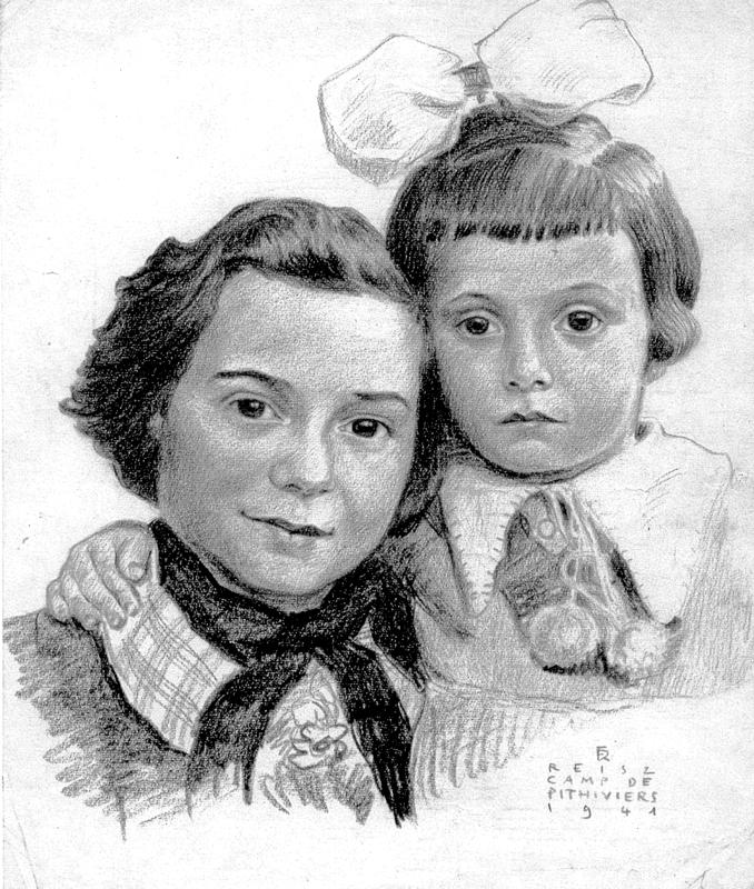 Portrait de Dora et Jacqueline Jedynak, fait par l'interné Franz Reisz au camp de Pithiviers, vraisemblablement à partir d'une photo (1941). Archives familiales