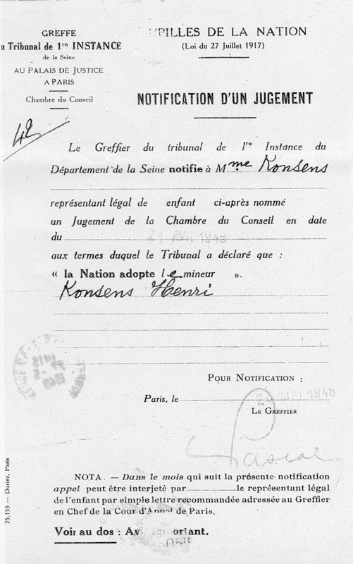 Notification de jugement faisant de Henri Konsens un pupille de la Nation (26 mai 1948). Archives familiales