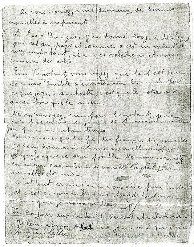 Dernière lettre écrite par Joseph Lander depuis le camp de Beaune-la-Rolande le 27 juin 1942, veille de sa déportation (verso). Archives familiales