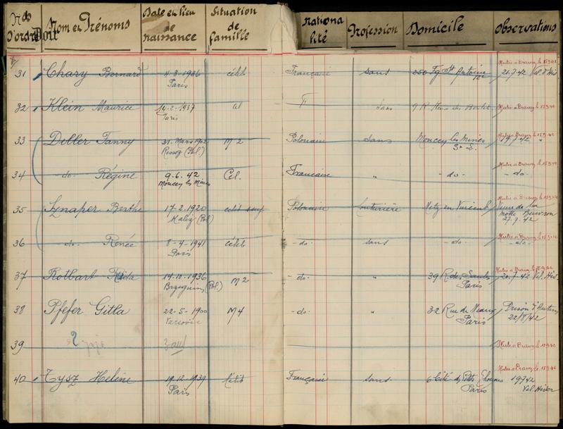 Extrait du registre de la baraque 9 du camp de Pithiviers: Gitla Pfefer, malade, est momentanément maintenue au camp avant son transfert à Beaune-la-Rolande, puis à Drancy. Archives départementales du Loiret – 20 M 796