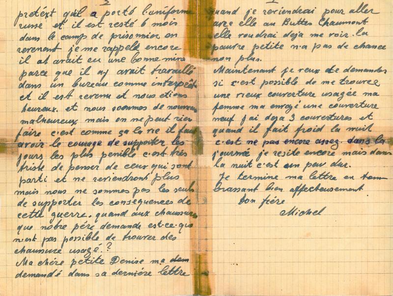 Lettre écrite par Michel Piernikarz à sa sœur Rosa du camp de Beaune-la-Rolande (5 décembre 1941) (verso). Archives familiales