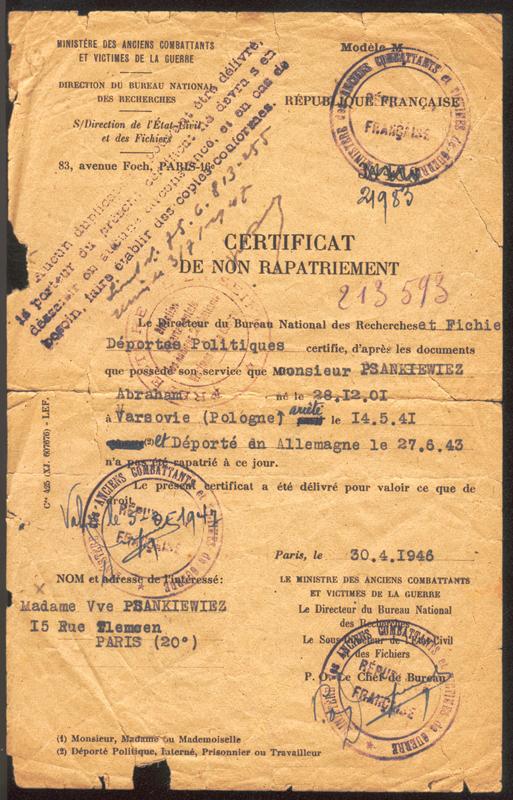 Certificat de non-rapatriement établi au nom d'Abraham Psankiewicz (30 avril 1946). Archives familiales