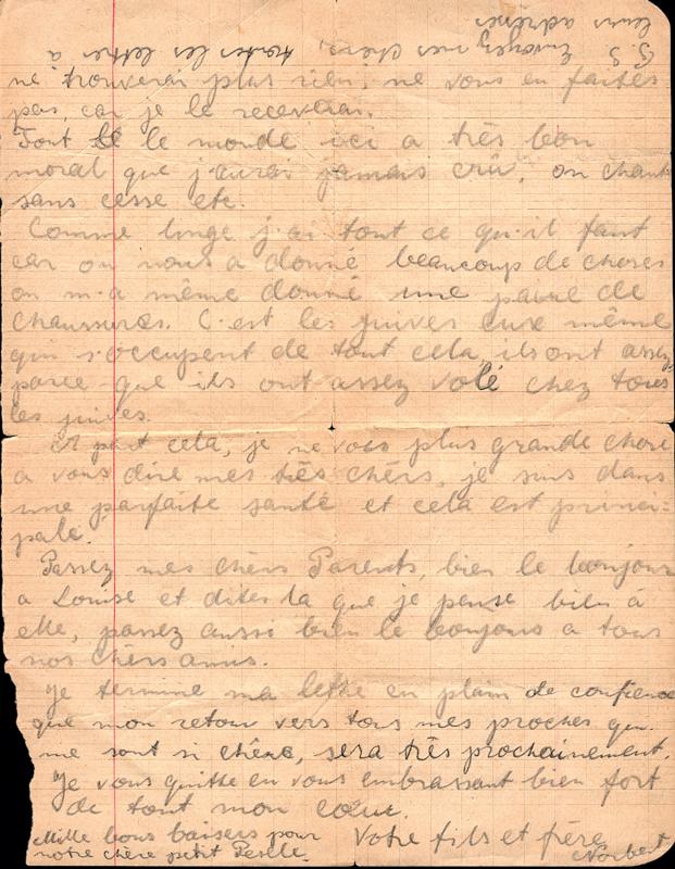 Lettre écrite du camp de Drancy par Norbert Lemberger à ses parents le 31 août 1943, l'avant-veille de son départ en déportation (verso). Archives familiales