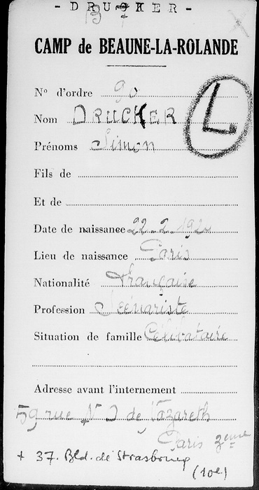 Fiche d'enregistrement de Simon Drucker au camp de Beaune-la-Rolande (recto) Archives Nationales