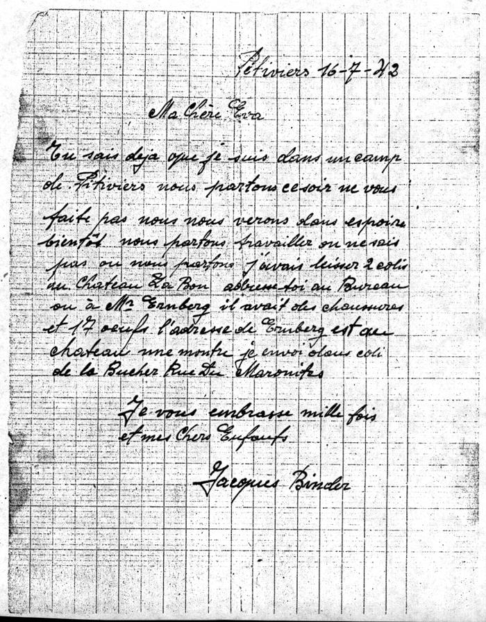 Lettre écrite du camp de Pithiviers par Jacob (Jacques) Binder, la veille de son départ en déportation, le 16 juillet 1942. Archives familiales