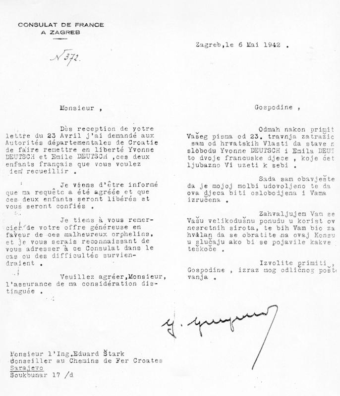 Lettre du consulat de France de Zagreb à Eduard Stark qui s'apprête à recueillir ses neveu et nièce, Hannah et Émile Deutsch, à Sarajevo (6 mai 1942). Archives familiales