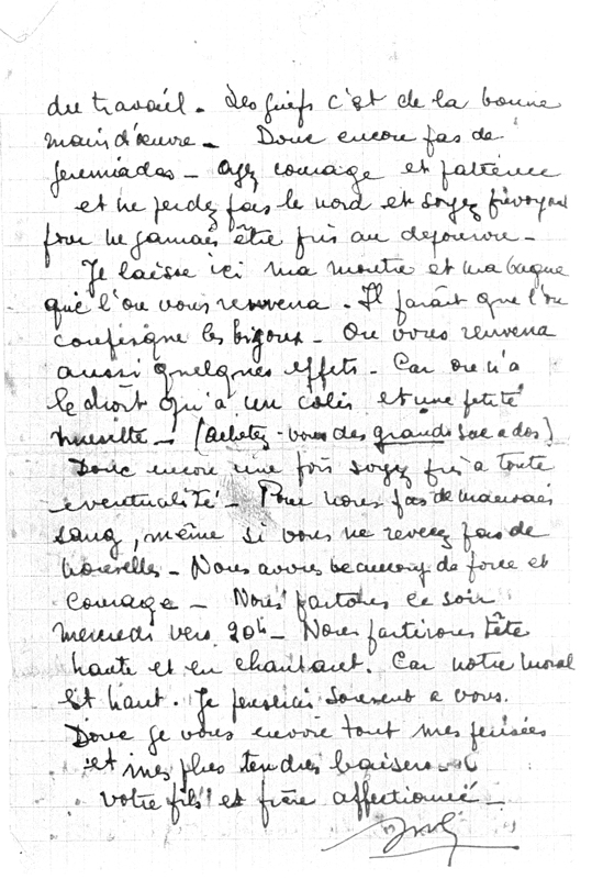 Dernière lettre écrite par Jules Geller du camp de Pithiviers le 24 juin 1942, la veille de son départ en déportation (non datée) (verso). Archives familiales