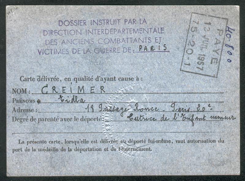 Carte de déporté politique établie au nom de Chaïm Grosman (6 septembre 1955) (verso). Archives familiales
