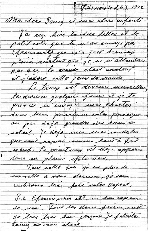 Lettre d'Alfred Hebenstreit écrite au camp de Pithiviers le 26 mars 1942 (recto). Archives familiales