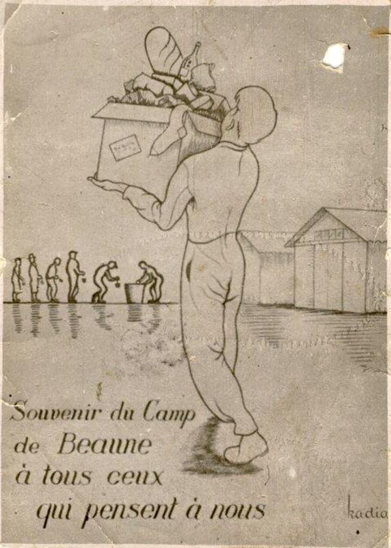 Carte postale dessinée par Kadia (Birenbaum) et initiée par les internés du camp de Beaune-la-Rolande pour remercier ceux qui les aident au quotidien (sd). Archives familiales